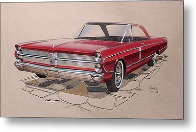 1965 Plymouth Fury  Vintage Styling Design Concept Rendering Sketch Metal Print by John Samsen