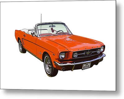 1965 Red Convertible Ford Mustang - Classic Car Metal Print by Keith Webber Jr