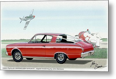 1966 Barracuda  Classic Plymouth Muscle Car Sketch Rendering Metal Print by John Samsen