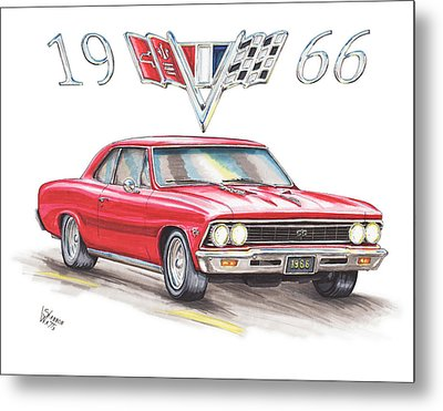 1966 Chevrolet Chevelle Ss At Night Metal Print
