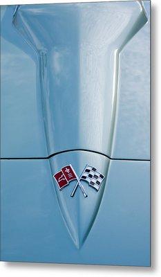 1966 Chevrolet Corvette Coupe Hood Emblem Metal Print by Jill Reger