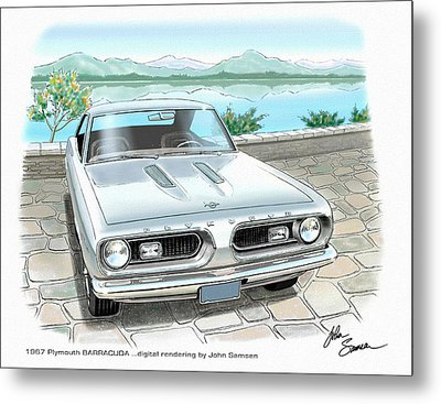 1967 Barracuda  Classic Plymouth Muscle Car Sketch Rendering Metal Print by John Samsen