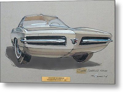 1967 Barracuda  Plymouth Vintage Styling Design Concept Rendering Sketch Fred Schimmel Metal Print by ArtFindsUSA