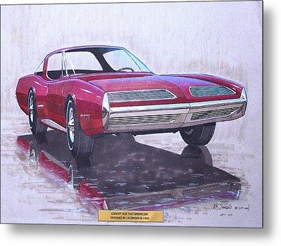1967 Barracuda  Plymouth Vintage Styling Design Concept Rendering Sketch Metal Print