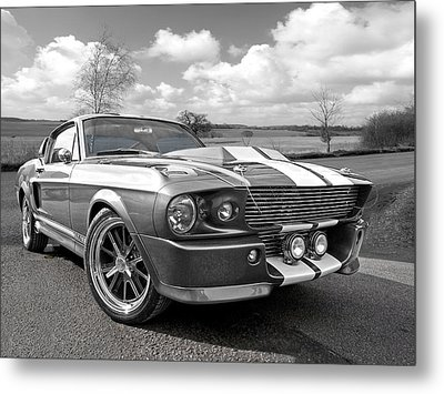 1967 Eleanor Mustang In Black And White Metal Print
