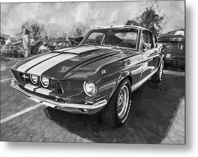 1967 Ford Shelby Mustang Gt500 Painted Bw Metal Print by Rich Franco