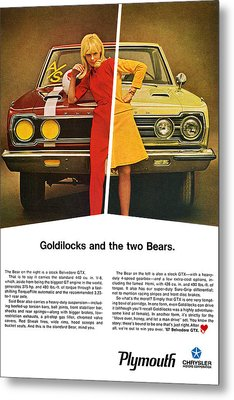 1967 Plymouth Gtx - Goldilocks And The Two Bears. Metal Print by Digital Repro Depot