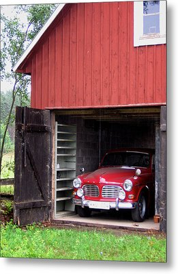 1967 Volvo In Red Sweden Barn Metal Print