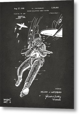 1968 Bulletproof Patent Artwork Figure 14 Gray Metal Print