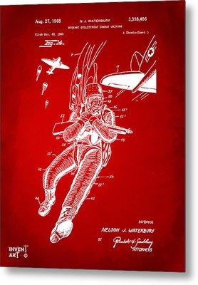 1968 Bulletproof Patent Artwork Figure 14 Red Metal Print