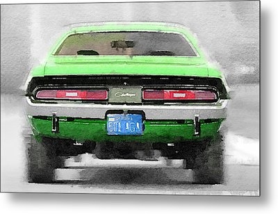 1968 Dodge Challenger Rear Watercolor Metal Print by Naxart Studio