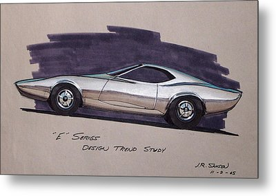 1968 E-body Barracuda   Plymouth Vintage Styling Design Concept Rendering Sketch Metal Print by John Samsen