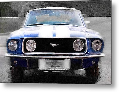 1968 Ford Mustang Front End Watercolor Metal Print by Naxart Studio