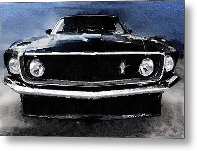 1968 Ford Mustang Shelby Front Watercolor Metal Print by Naxart Studio