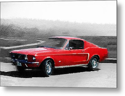 1968 Ford Mustang Watercolor Metal Print by Naxart Studio