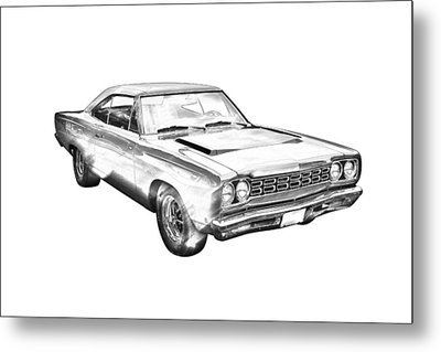 1968 Plymouth Roadrunner Muscle Car Illustration Metal Print by Keith Webber Jr