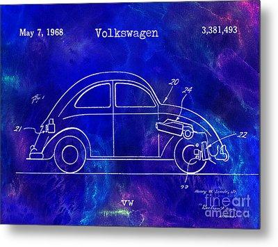 1968 Vw Patent Drawing Blue Metal Print by Jon Neidert