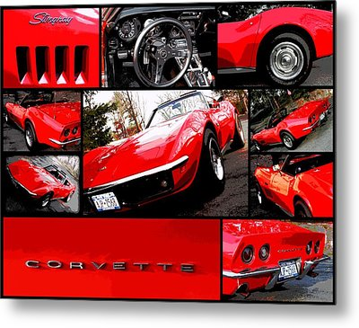 1969 Chevrolet Corvette Stingray Pop Art Collage 1 Metal Print