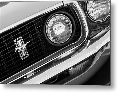 1969 Ford Mustang Boss 429 Grill Emblem Metal Print by Jill Reger