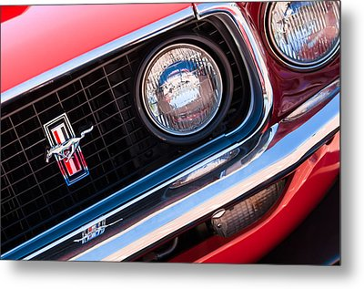 1969 Ford Mustang Boss 429 Grille Emblem Metal Print by Jill Reger