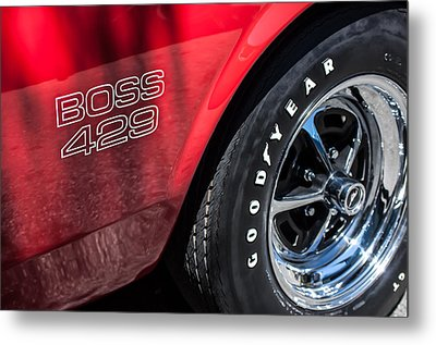 1969 Ford Mustang Boss 429 Sportsroof Side Emblem - Wheel Metal Print by Jill Reger