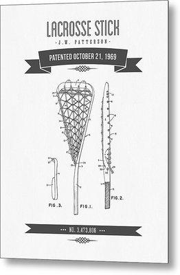1969 Lacrosse Stick Patent Drawing - Retro Gray Metal Print by Aged Pixel