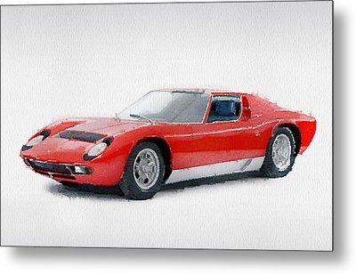 1969 Lamborghini Miura P400 S Watercolor Metal Print by Naxart Studio