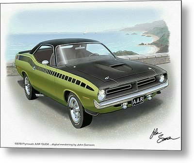 1970 Barracuda Aar Cuda Muscle Car Sketch Rendering Metal Print by John Samsen