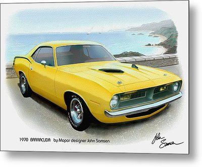 1970 Barracuda Classic Cuda Plymouth Muscle Car Sketch Rendering Metal Print by John Samsen