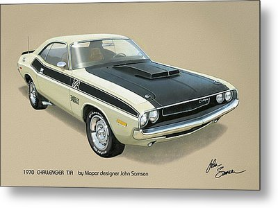 1970 Challenger T-a Dodge Muscle Car Classic Metal Print by John Samsen
