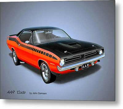1970 'cuda Aar  Classic Barracuda Vintage Plymouth Muscle Car Art Sketch Rendering         Metal Print by John Samsen