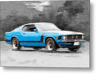 1970 Ford Mustang Boss Blue Watercolor Metal Print