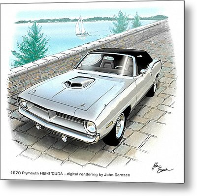 1970 Hemi Cuda Plymouth Muscle Car Sketch Rendering Metal Print by John Samsen