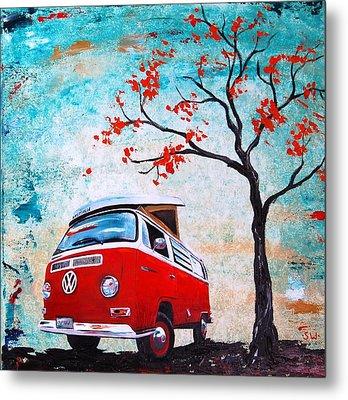 1970 Red Volkswagen Camper Bus Metal Print by Sheri Wiseman