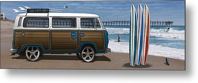 1970 Vw Bus Woody Metal Print by Mike McGlothlen