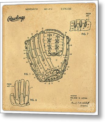 1971 Baseball Glove Patent Art Latina For Rawlings 1 Metal Print by Nishanth Gopinathan