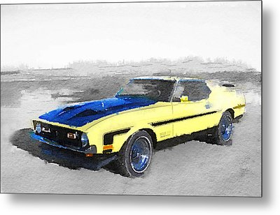 1971 Ford Mustang Boss Watercolor Metal Print by Naxart Studio