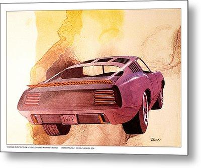 1972 Barracuda  B Cuda  Plymouth Vintage Styling Design Concept Rendering Metal Print
