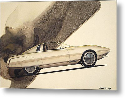 1972 Barracuda  Cuda Plymouth Vintage Styling Design Concept Rendering Sketch Metal Print by John Samsen
