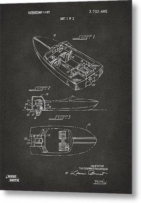 1972 Chris Craft Boat Patent Artwork - Gray Metal Print by Nikki Marie Smith
