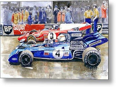 1972 French Gp Jackie Stewart Tyrrell 003  Jacky Ickx Ferrari 312b2  Metal Print by Yuriy Shevchuk