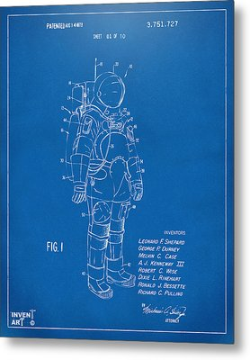 1973 Space Suit Patent Inventors Artwork - Blueprint Metal Print