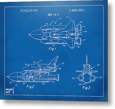 1975 Space Shuttle Patent - Blueprint Metal Print
