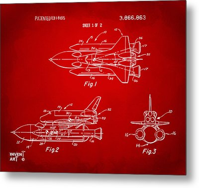 1975 Space Shuttle Patent - Red Metal Print