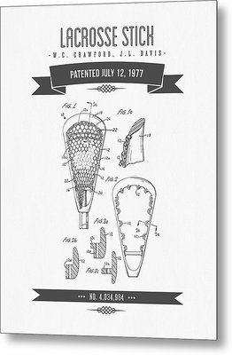 1977 Lacross Stick Patent Drawing - Retro Gray Metal Print by Aged Pixel