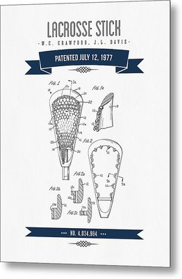 1977 Lacross Stick Patent Drawing - Retro Navy Blue Metal Print by Aged Pixel