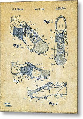 1980 Soccer Shoes Patent Artwork - Vintage Metal Print by Nikki Marie Smith
