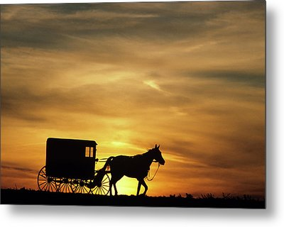 1980s Amish Horse And Buggy Silhouetted Metal Print