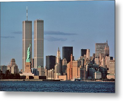 1980s Statue Of Liberty And Twin Towers Metal Print