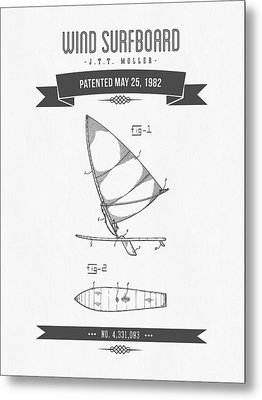 1982 Wind Surfboard Patent Drawing - Retro Gray Metal Print by Aged Pixel